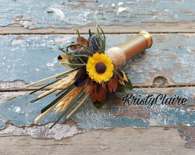 Sunflower Gold Shot Gun Shell Wedding Boutonniere, Buttonhole, Lapel, Pin-on, Corsage