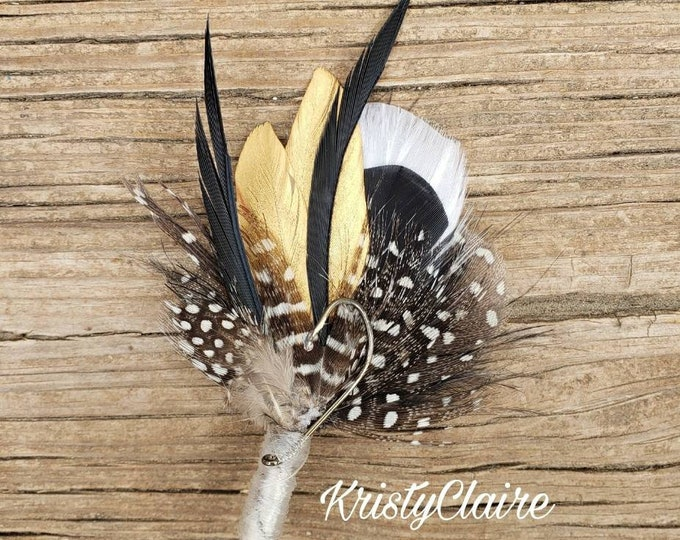 Fishing Boutonniere, White, Black, Gold Feathers, Buttonhole, lapel, Pin-on, Corsage, Wedding, Event, Groom, Prom, Dance, Party, Gift
