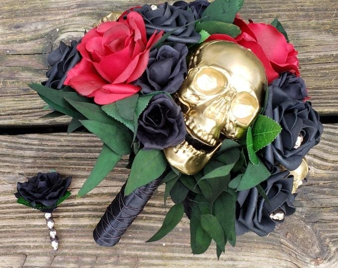 Gothic Halloween Bridal Bouquet, Red Rose, Black Rose, Gold Skulls, Greenery, Eucalyptus, Silk Flowers, Foam Roses