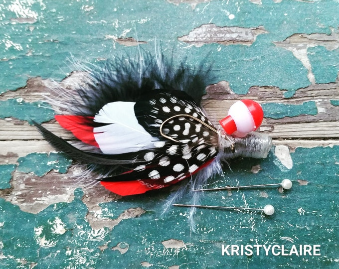Fishing Boutonniere, Red, White, Black, Feathers