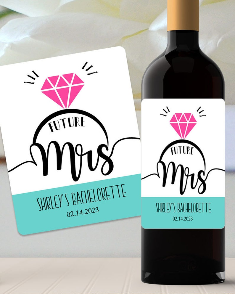 Bridal shower gifts Custom Bridal shower wine label Future Mrs Personalized Bachelorette Party Wine Label Bachelorette gifts  #BCI