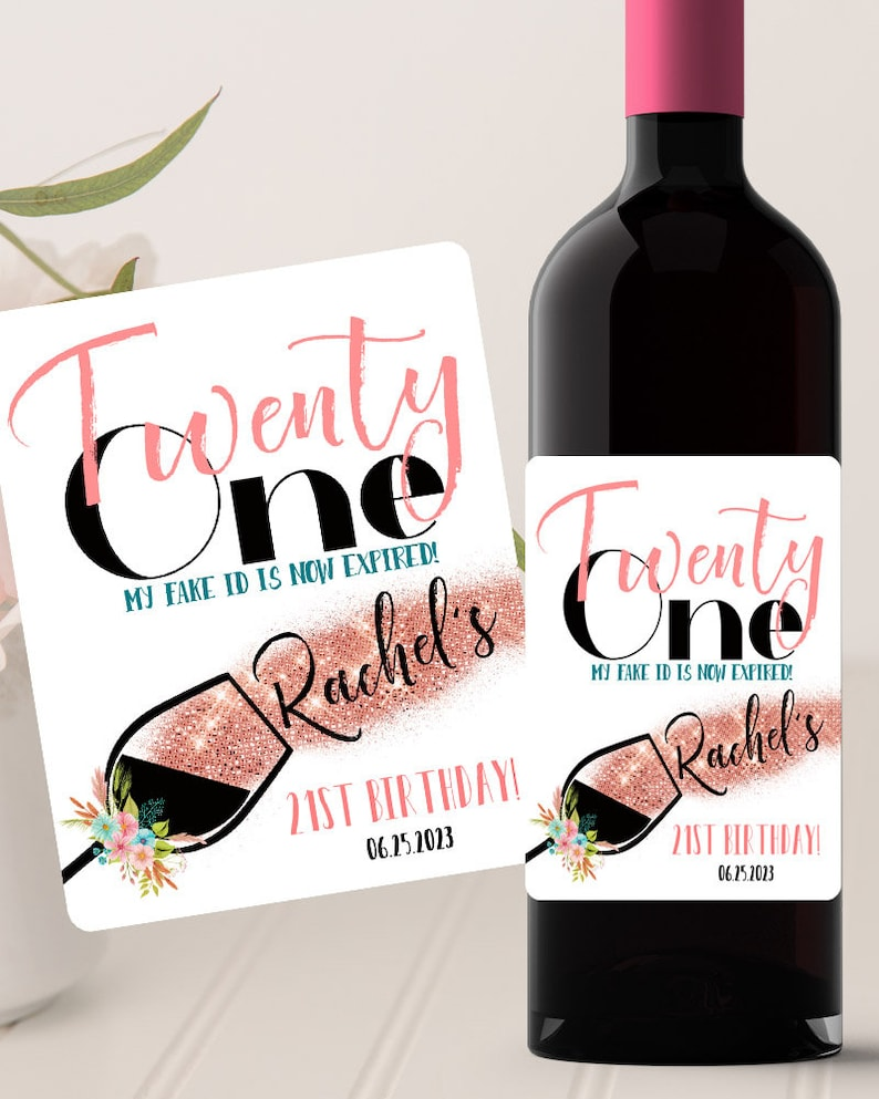 Birthday Gifts Birthday Favors Personalized Wine Glass 21st Birthday Wine Label #BYC Twenty One Birthday Girl wine Label