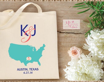 Personalized  State  Wedding Destination Tote Bag - Welcome bags, wedding gift bags, bachelorette party favor bag