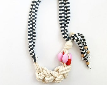 Knotty Custom Statement Necklace with Hand painted Wood Beads Cotton Rope Jersey Yarn