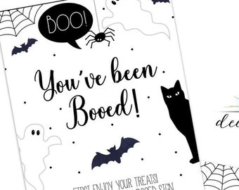 You've been Booed Sign - Neighbors Friends Family Halloween Basket or Treat Bag - Booed Printable - Trick or Treat - Halloween -
