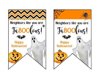 Neighbors Halloween Treat Tag, Boo Basket, Neighbor Gift, Trick or Treat, Halloween Basket, Fa-boo-lous, Boo, Halloween Tags, Cookie Tags