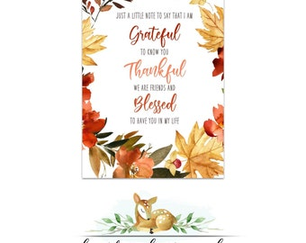 Friendsgiving Thanksgiving Card Note Printable - Thankful Grateful Blessed  - Thanksgiving gift tag - Gift for Friends - Thankful friends