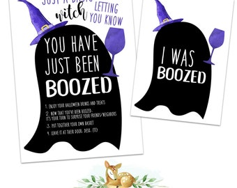 Basic Witch Boozed - Secret Witch - Halloween Game - You've been booed - Booed - Drink up Witches - Basic Witch - Halloween Drink Printable