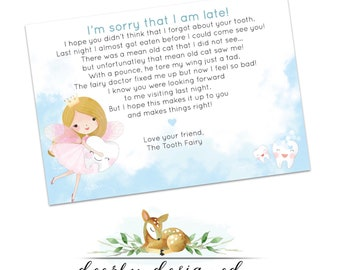 Note from the Tooth fairy - Late Toothfairy note - Letter from the Tooth fairy - Printable Toothfairy Apology Letter from Fairy for boy