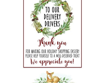 Christmas Mailman Thank You Printable for Online Shopping - Amazon - UPS - FedEx - USPS - Goodie Basket Thank You Printable Instant Download