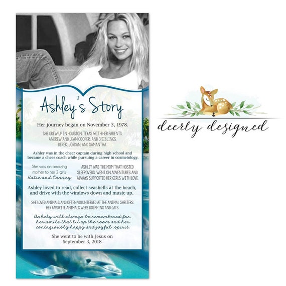 Dolphin theme Funeral Program | Beach Printable Memorial Card | Obituary |  Celebration of Life - Order of Service | dolphin Celebration of