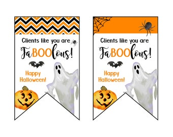 Client Customer Halloween Treat Tags - Boo Basket - Customer Appreciation - Client Halloween Gift Printables - Treat Bags - Trick or Treat