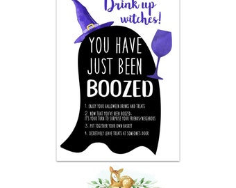You've been Boozed Instant Download Printable - Boozed Sign - Halloween Booed