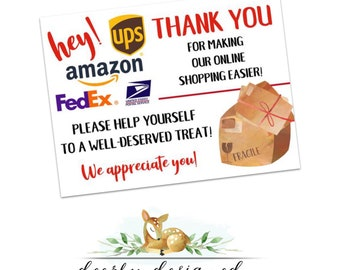 Mailman Thank You Printable for Online Shopping - Amazon - UPS - FedEx - USPS - Goodie Basket Thank You Printable Instant Download