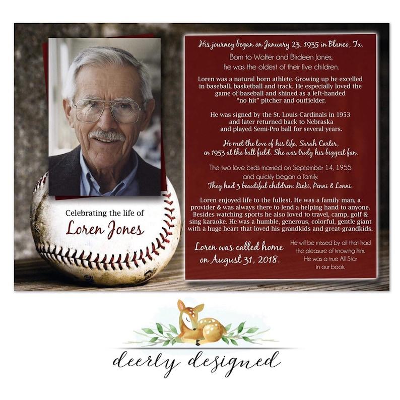 Baseball theme Funeral Program | Printable Memorial Card | Obituary |  Celebration of Life - Order of Service | Baseball Celebration of life