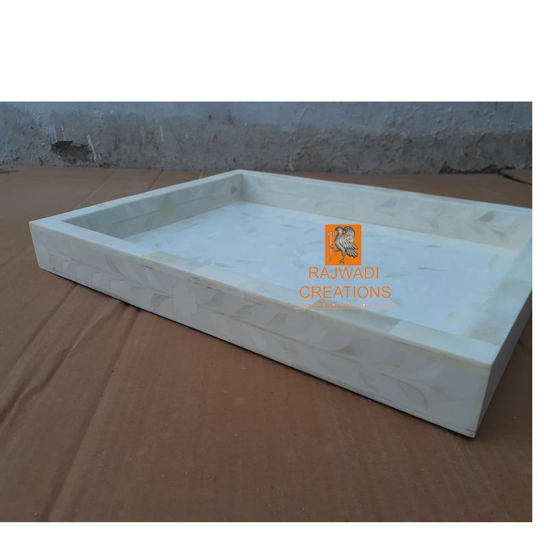 Handmade Bone Inlay Wooden Modern Geometric Eye Pattern Serving Tray Furniture