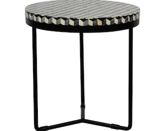 Bone Inlay Handmade Round Side Table - Cuban & Black