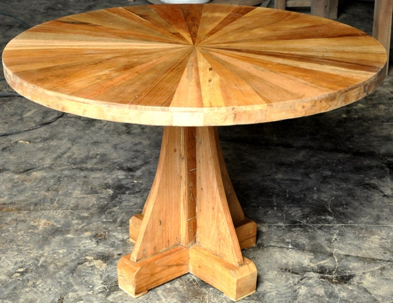 Reclaimed Solid Wood Round Dining Table Rustic Handmade