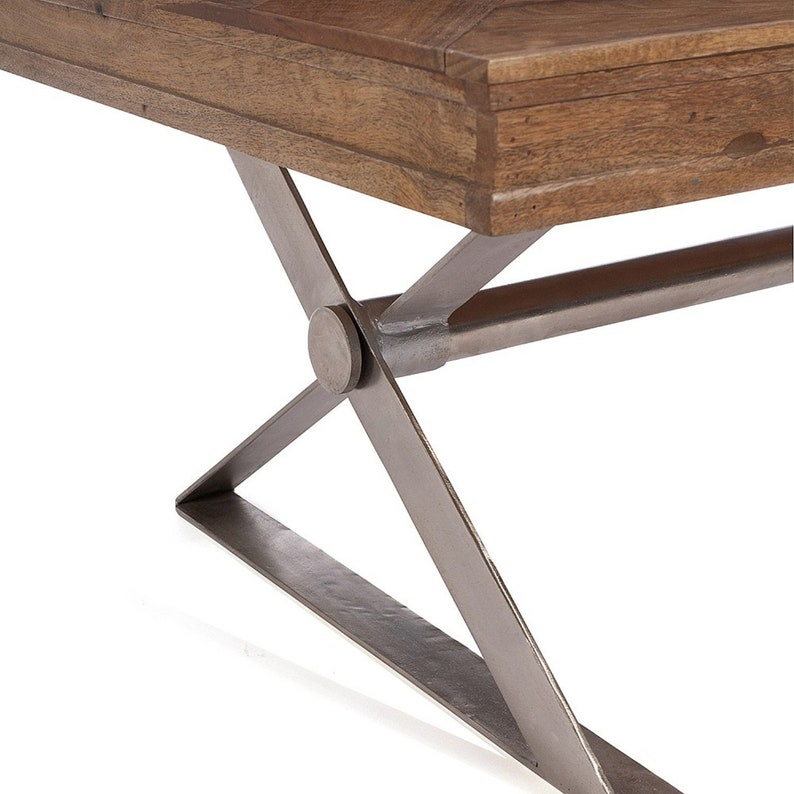 Solid Wood Rustic coffee Table Solid wood  Brown Finish  Iron Base
