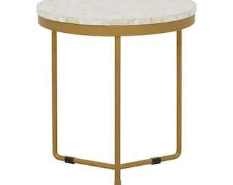 Bone Inlay Handmade Round Side Table - Cuban & White