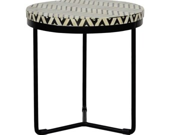 Bone Inlay Handmade Round Zegzag Side Table - Cuban & Black