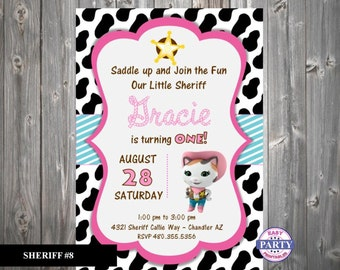 Sheriff Callie Invitation 8 Huge Selection Easy Party Printables Personalized DIY Printable 5x7 Choose Colors