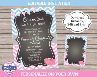 He or She Gender Reveal Invitation, or Tutu and Tie Party, you choose the wording, baby shower, birthday, pink and blue, editable invitation
