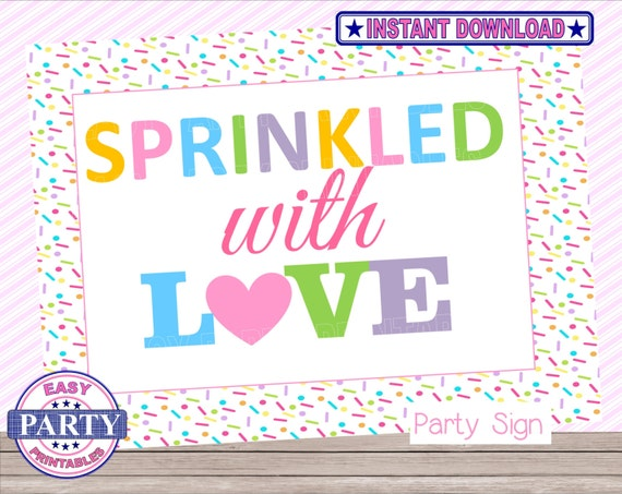 Sprinkled Baby Shower Sign Sprinkled With Love Second Baby Etsy