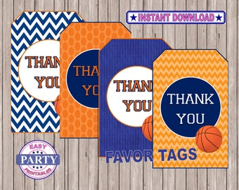 SALE Basketball Party, basketball favor tags, Instant Download, Basketball printables, sports, team sports, coordinating items available