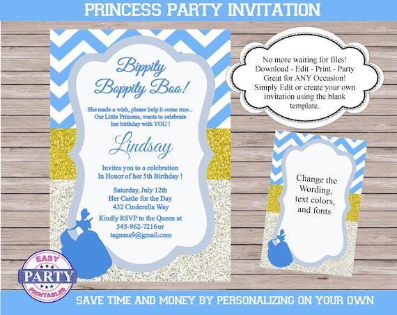 Cinderella Editable Birthday Invitation Blue Chevron Instant