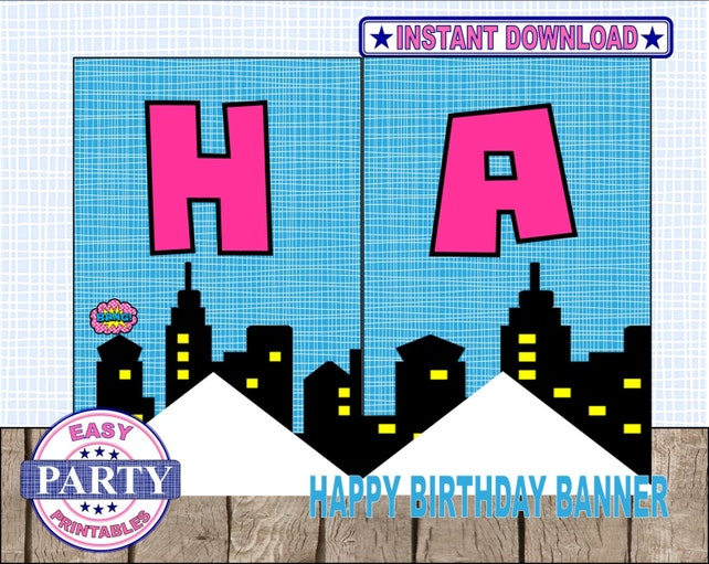 SALE Instant Download Superhero Birthday Banner Printable