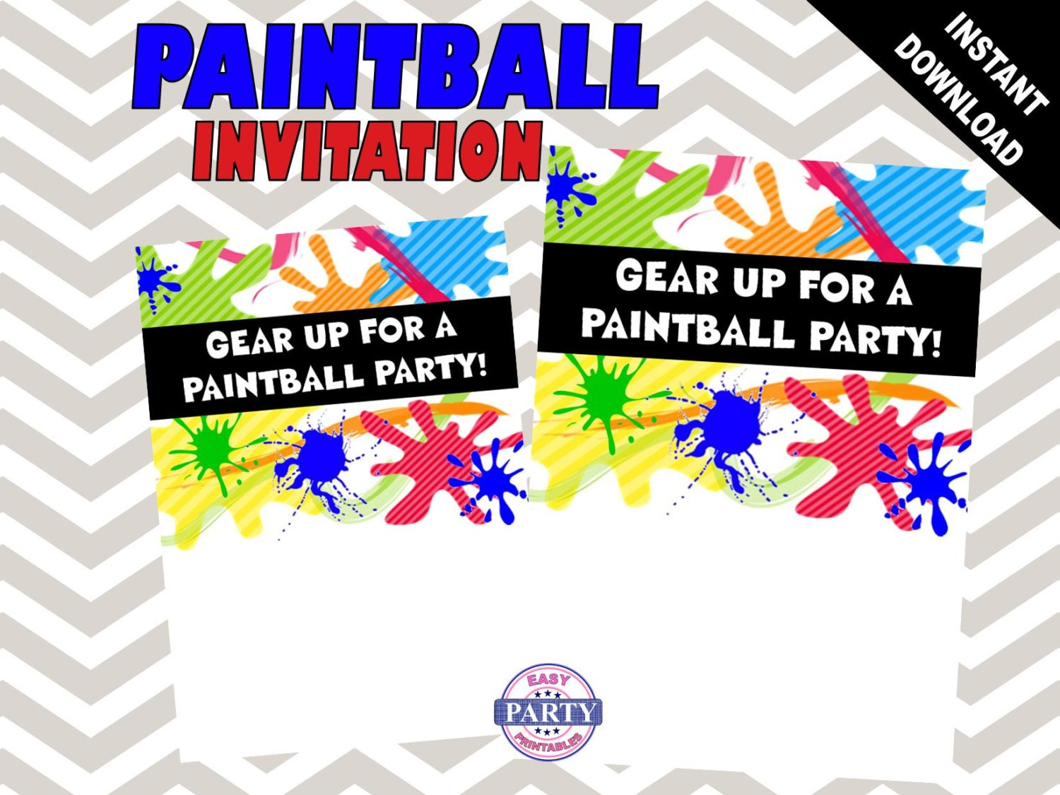Paintball Party Invitation Template Instant download