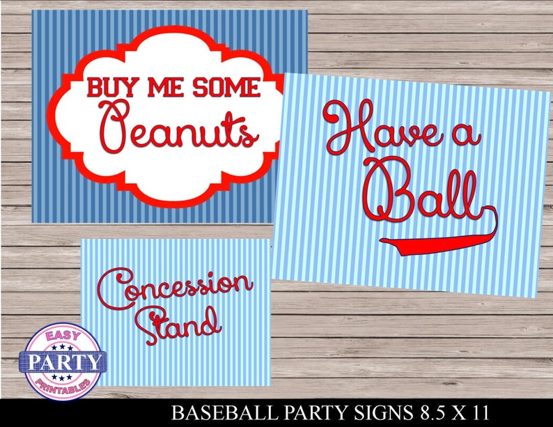 picture about Concession Stand Signs Printable identified as Baseball Social gathering mounted of signs and symptoms, Immediate Obtain, Printable, Blue and crimson, Comprise a Ball, Invest in Me Some Peanuts, Concession Stand, baseball personnel