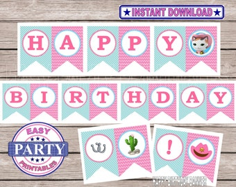 SALE Instant Download Sheriff Callie Happy birthday banner, printable party, cowgirl, happy birthday banner, cowgirl banner, pink and aqua