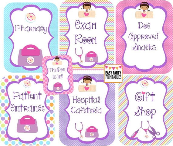 Doc Mcstuffins Party Signs Gift Shop Instant Download Exam Etsy