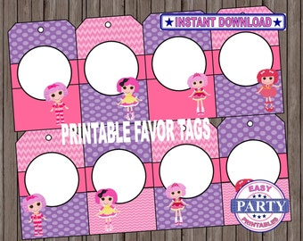 SALE Lalaloopsy Party favor tags, instant download, Lalaloopsy party, Lalaloopsy printables, favor tags, DIY, lalaloopsy doll party