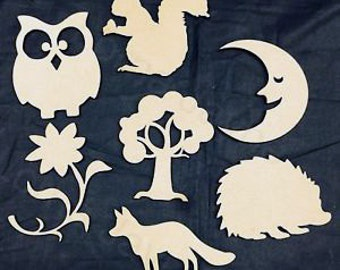 unfinished wooden craft shapes owl squirell flower tree moon fox hedgehog do it yourself