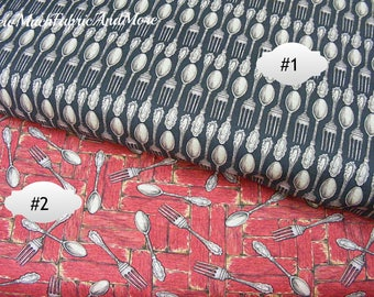 Forks & Spoons fabric-By the yard or 1/2 yd-2 designs-tableware-flatwear-Springs Creative-cotton-silverwear-kitchen