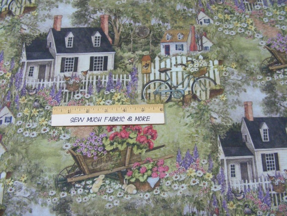 Country House Garden Flowers Bicycle Cotton Fabric Primrose Lane By The Yard