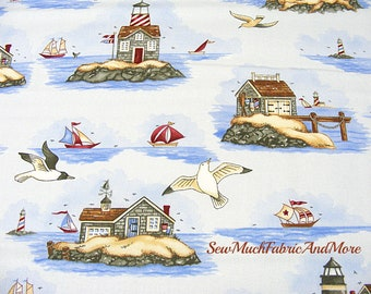 Safe Harbor nautical Fabric~By the yard~Lighthouses~seascape~sailboats~blue~cotton~ocean~beach cottages~Clothworks