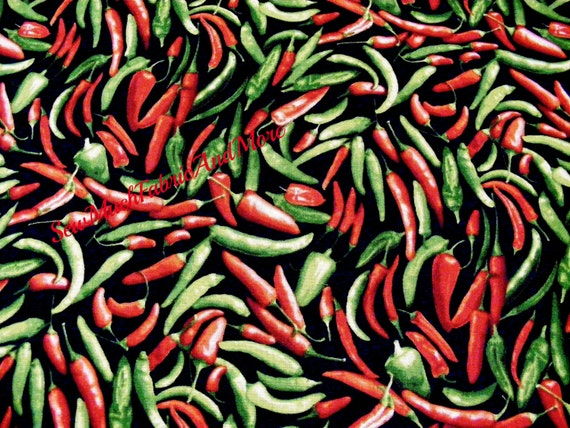 Food Fabric Southwest Red Chili Pepper Toss Black Timeless Treasures YARD