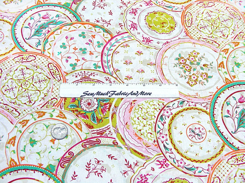 Collage of Plates Fabric-By the 12 yard or yard-cotton-Waverly Inspirations--Floral-China Shop