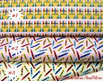 Crayolas fabric-Colorfully Creative-By the 1/2 yard or yard-3 selections-Riley Blake C5403 & C5402-Boxes of crayolas