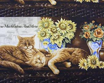 Cat Nap Fabric~RJR Fabrics~by the yard~Animals~ Kittens~orange tabby cats~Flowers~Floral~striped~Tabbies