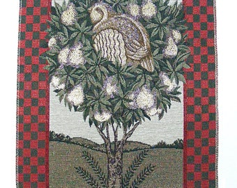 """Partridge in a pear tree tapestry fabric panel-13-1/2""""x 20""""-Christmas-Holiday decor"""