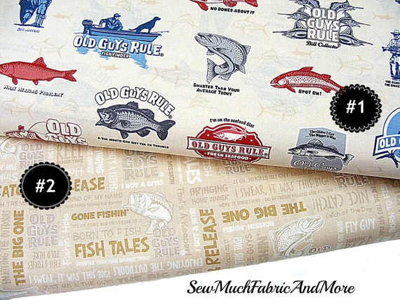 """Old Guy Rules Fish stories on Khaki cotton Fabric per yard quilting sewing 44/"""""""