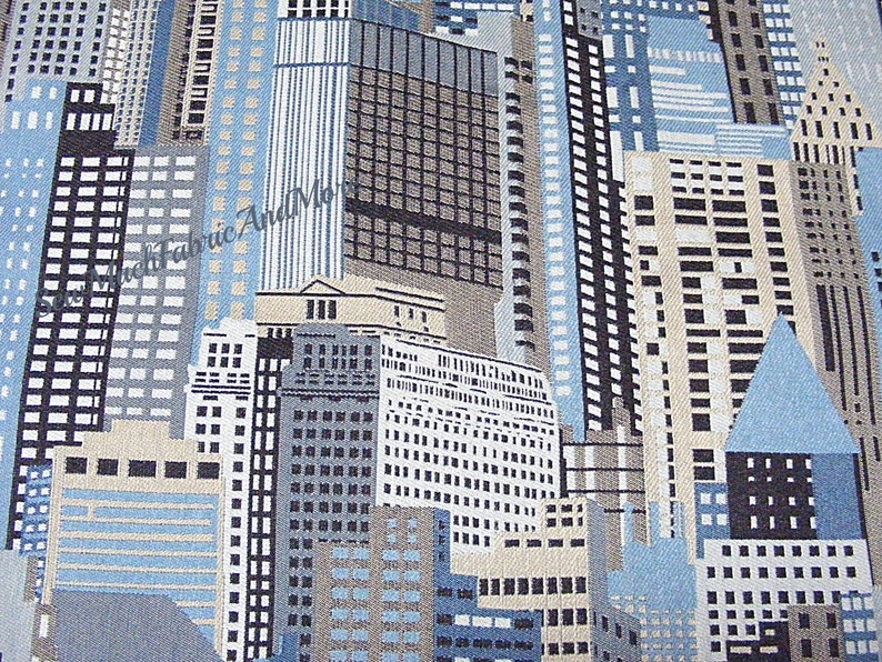 Skyscrapers~Citiscape Upholstery fabric~By the yard~ Damask~59 wide