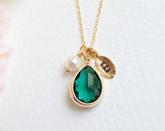 Green stone necklace etsy personalized green stone and pearl necklace in gold emerald green stone necklace initial necklace bridesmaid gift christmas gift aloadofball Choice Image