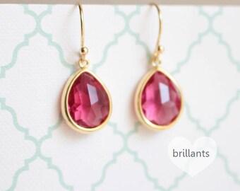 Ruby Pink stone earrings in gold, Teardrop stone earrings, Bridesmaid earrings, Wedding earrings, Bridesmaid gift, Bridesmaid gift