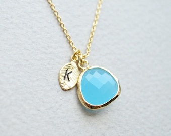 Sky blue Stone and initial leaf charm necklace in gold,  Personal necklace, Bridesmaid jewelry, Bridesmaid necklace, Wedding necklace